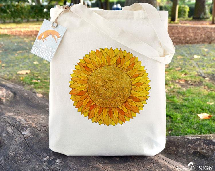 Sunflower Tote Bag by Ceridwen Hazelchild Design.
