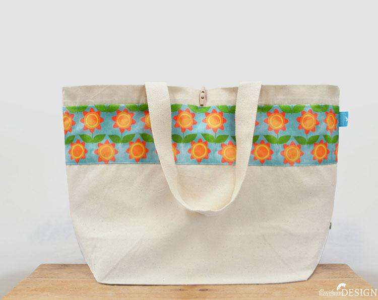 Floral Large Canvas Tote Bag by Ceridwen Hazelchild Design.