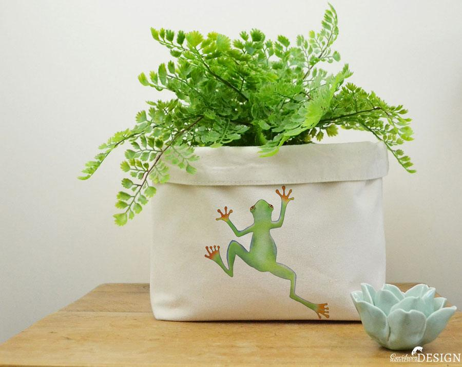 Tree Frog Canvas Storage Box by Ceridwen Hazelchild Design.