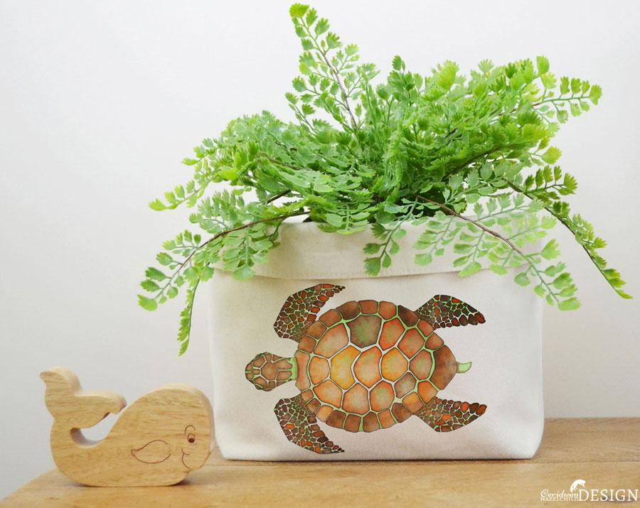 Turtle Canvas Storage Box by Ceridwen Hazelchild Design.
