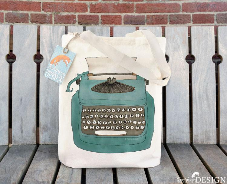 Typewriter Tote Bag by Ceridwen Hazelchild Design.