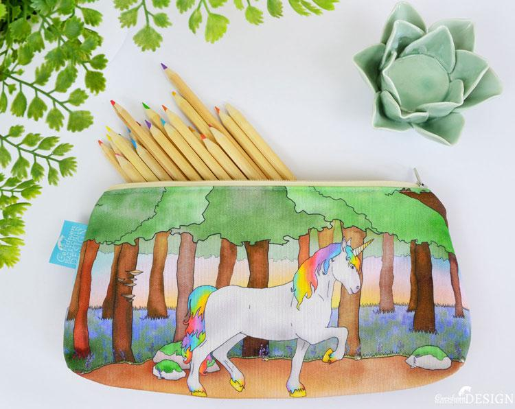 Unicorn Cork Pencil Case by Ceridwen Hazelchild Design.