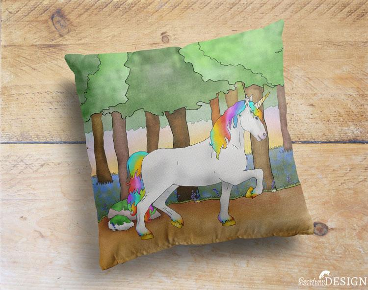 Unicorn Cushion Cover by Ceridwen Hazelchild Design.