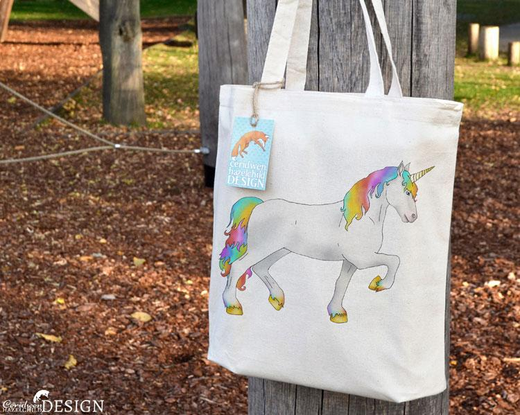 Unicorn Tote Bag by Ceridwen Hazelchild Design.