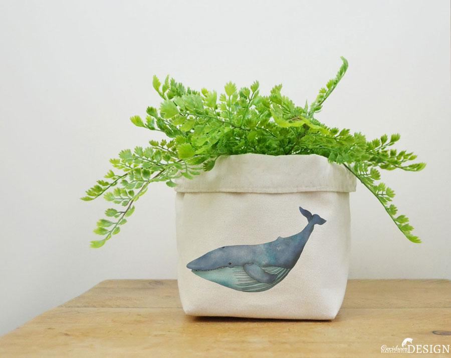 Whale Canvas Storage Box by Ceridwen Hazelchild Design.