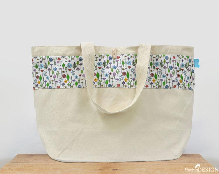 Wildflower Large Canvas Tote Bag by Ceridwen Hazelchild Design., Canvas Tote