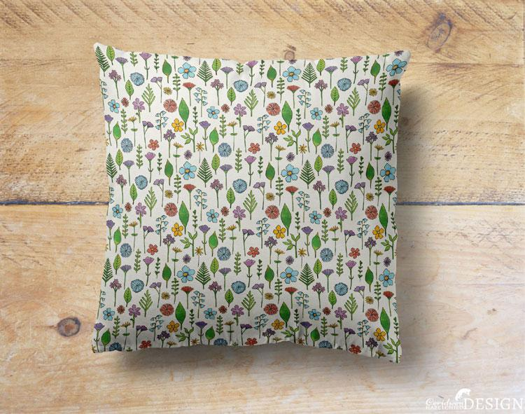 Wild Flower Cushion Cover by Ceridwen Hazelchild Design.