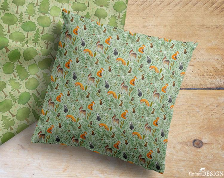 Woodland Animals Cushion Cover by Ceridwen Hazelchild Design.