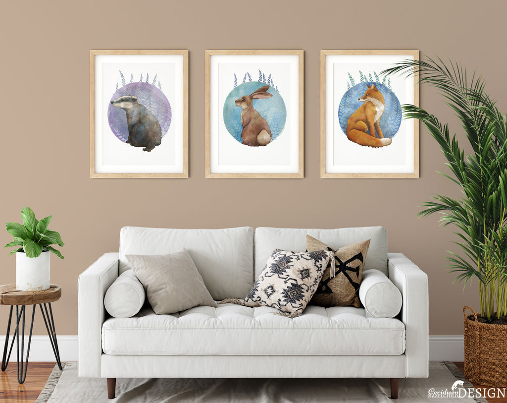 Woodland animal illustrations decorating a living room wall.