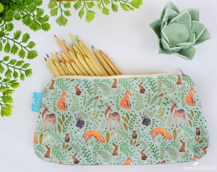 Woodland Animal Cork Pencil Case by Ceridwen Hazelchild Design.