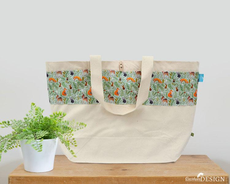 Woodland Animals Large Canvas Tote Bag by Ceridwen Hazelchild Design.