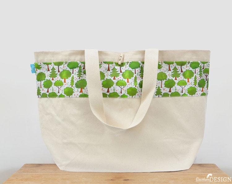 Woodland Trees Large Canvas Tote Bag by Ceridwen Hazelchild Design.