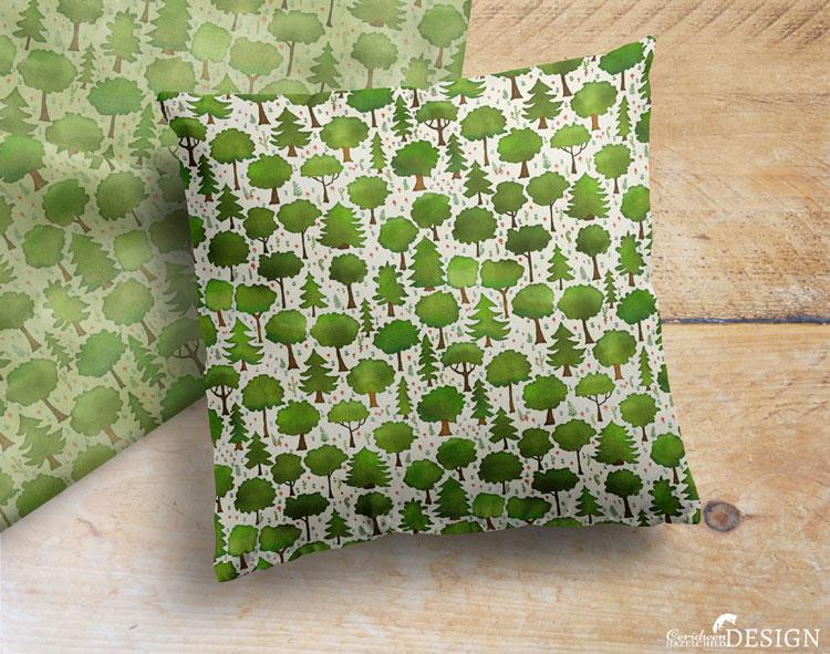 Woodland Trees Cushion Cover by Ceridwen Hazelchild Design.