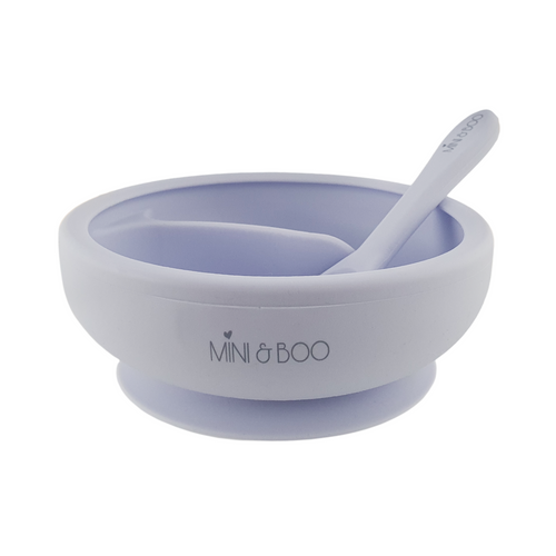 Mini and Boo Silicone Sectioned Suction Bowl Set - Light Purple
