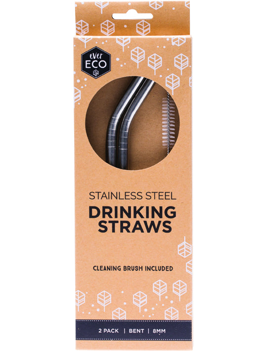 Ever Eco Stainless Steel Straws Bent 2 Pack + Brush