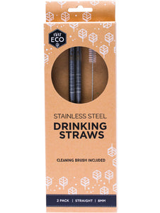 Ever Eco Stainless Steel Straws Straight 2 Pack + Brush