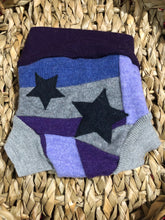 Load image into Gallery viewer, Lily's Dream upcycled wool cover SMALL - purple and grey with stars - The Nappy Bucket