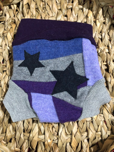Lily's Dream upcycled wool cover SMALL - purple and grey with stars - The Nappy Bucket