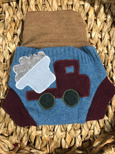 Load image into Gallery viewer, Lily's Dream upcycled wool cover SMALL - blue and brown with a dump truck applique - The Nappy Bucket