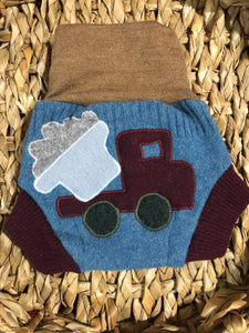 Lily's Dream upcycled wool cover SMALL - blue and brown with a dump truck applique - The Nappy Bucket