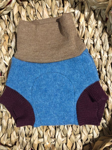 Lily's Dream upcycled wool cover SMALL - blue and brown with a dump truck applique