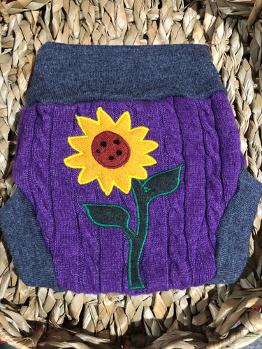 Lily's Dream upcycled wool cover MEDIUM - purple and grey with a sunflower - The Nappy Bucket