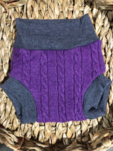 Load image into Gallery viewer, Lily's Dream upcycled wool cover MEDIUM - purple and grey with a sunflower - The Nappy Bucket