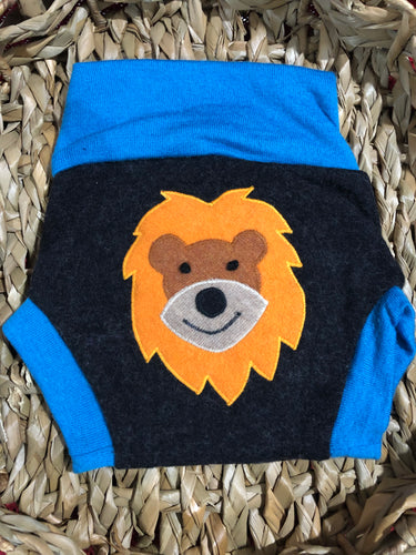 Lily's Dream upcycled wool cover MEDIUM - grey and blue with a happy lion applique