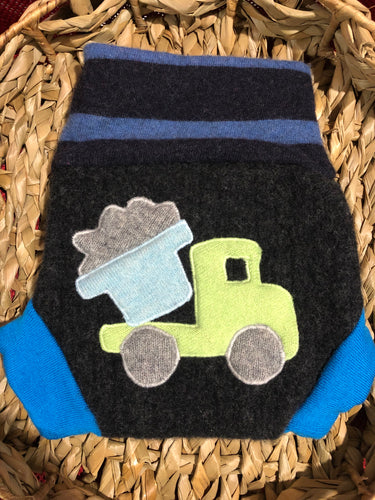 Lily's Dream upcycled wool cover MEDIUM - Dark Grey and Teal with a Dump Truck Applique - The Nappy Bucket