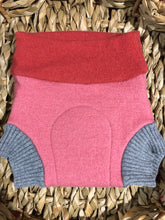 Load image into Gallery viewer, Lily's Dream upcycled wool cover MEDIUM - Pink with a Bird Wearing a Crown Applique - The Nappy Bucket