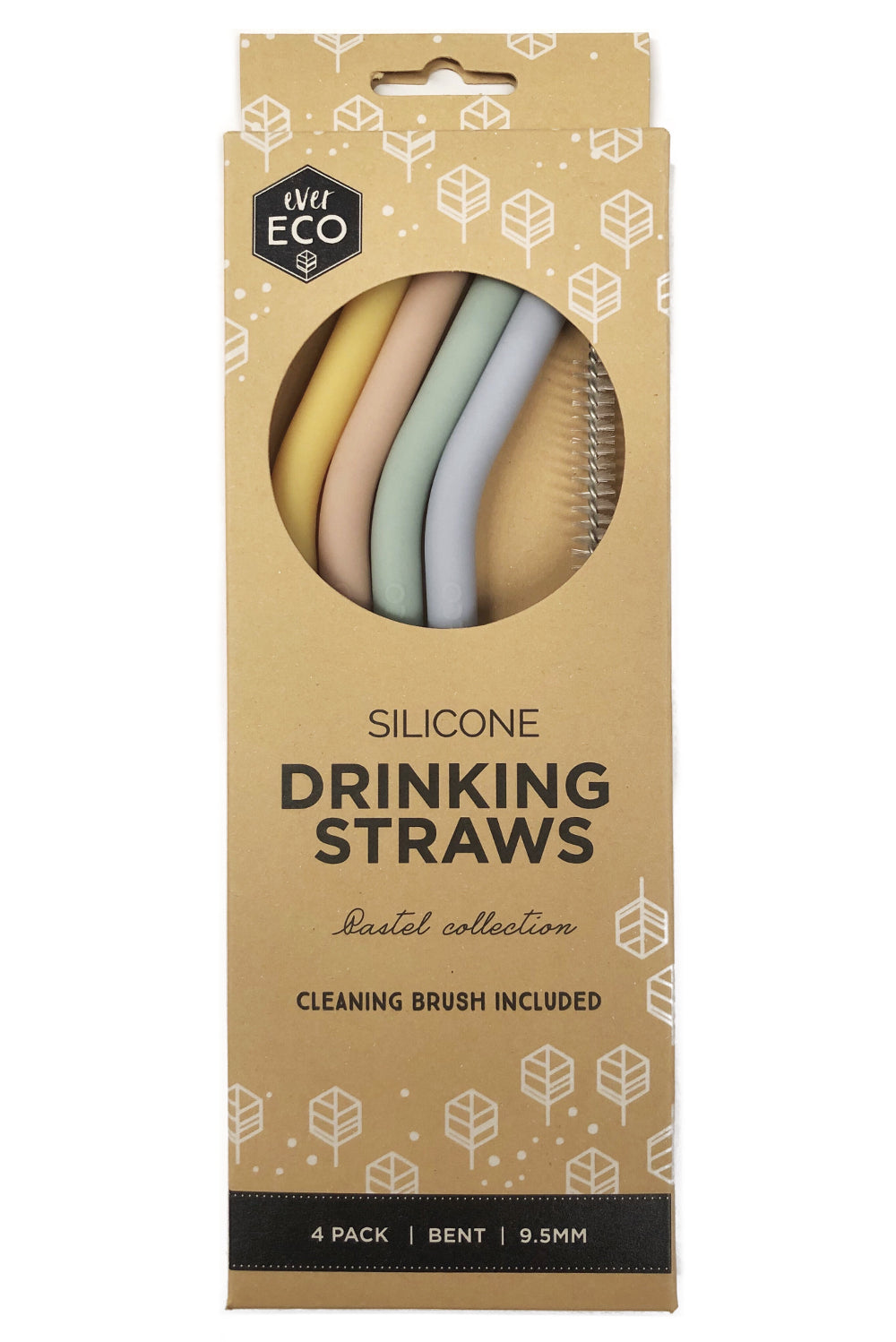 Ever Eco Silicone Straws Bent 4 Pack + Brush