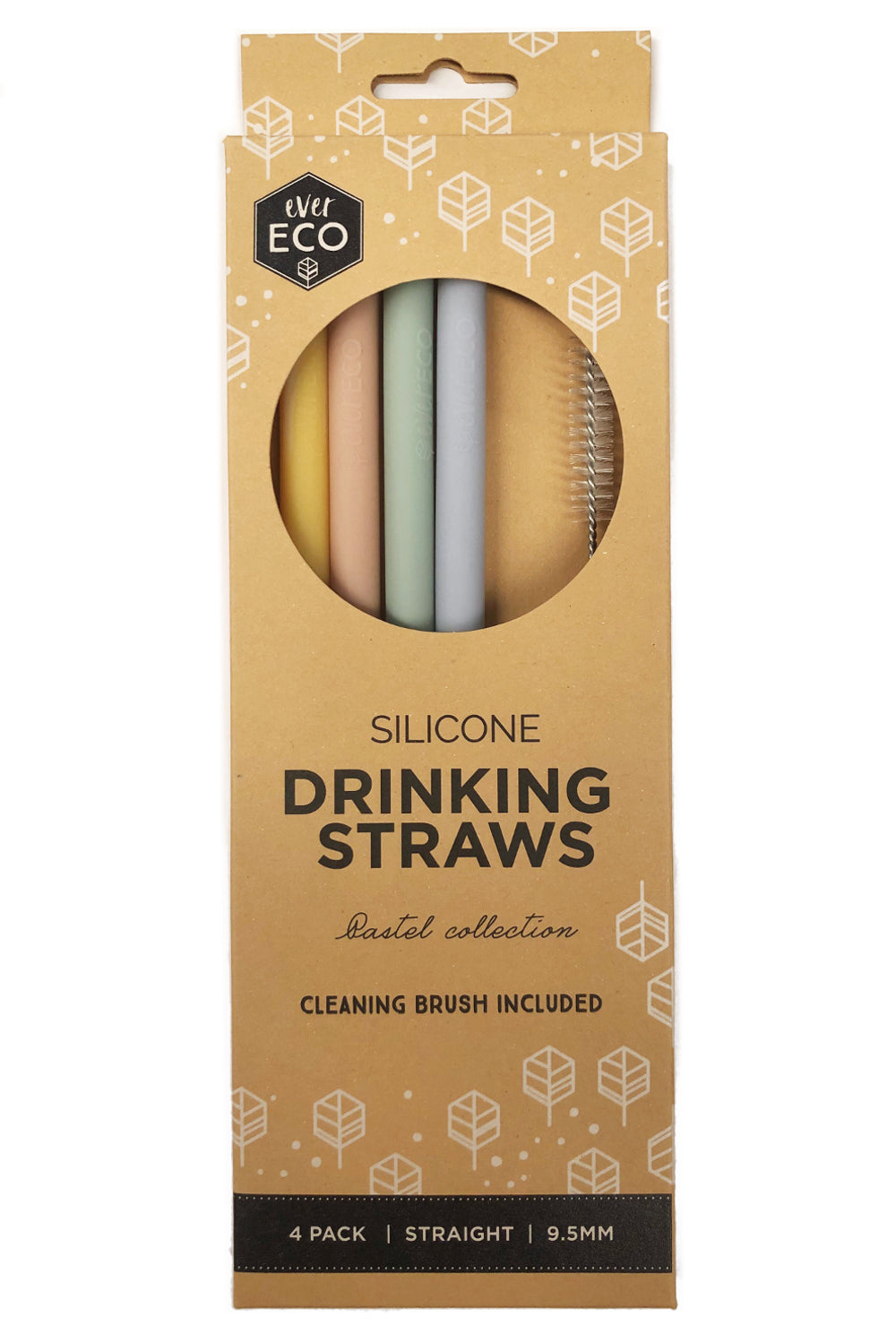 Ever Eco Silicone Straws Straight 4 Pack + Brush