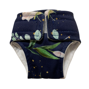 Little Bambi Doll Nappies Large Navy Blooms