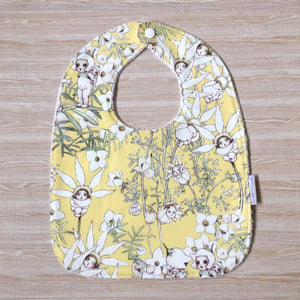 Snuggle and Squish Bamboo Feeding Bib - Flannel Flower Lemon