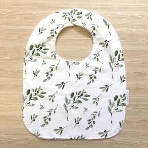 Snuggle and Squish Bamboo Feeding Bib - Olive Leaf