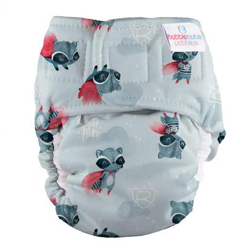 Bubblebubs Pebbles Newborn Nappy Rocket (Racoon) Minky