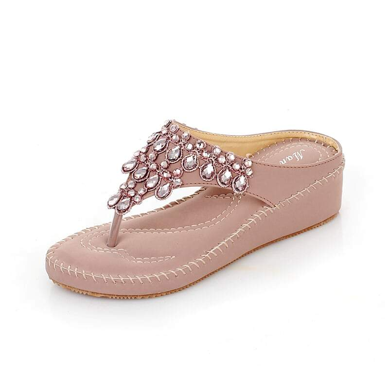 Brilliant Gems Thong-Slip-on Wedge Comfortable Fashion Sandals-Diivas
