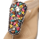 Bohemian Colorful Gems & Beads with Soft Sole Flat Sandals in Two Colors-Diivas