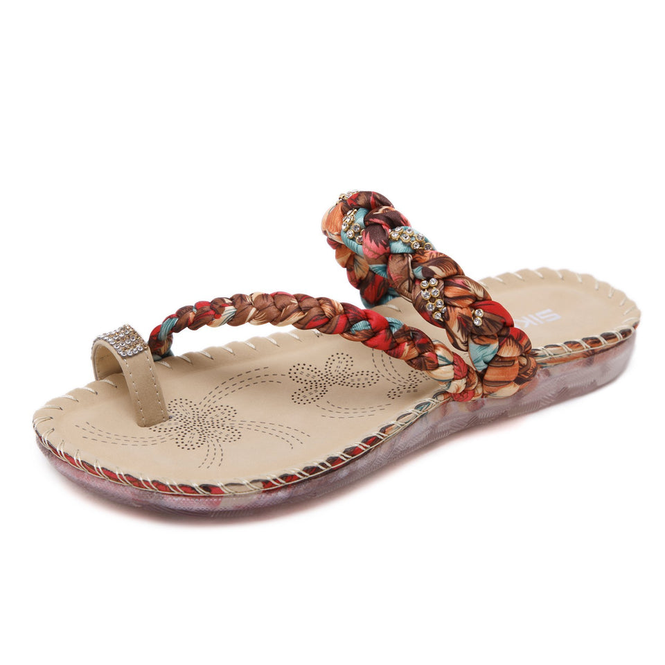 Colorful Braided Straps Embellished with Rhinestones 2019 Summer/Spring Fashion Sandals-Diivas