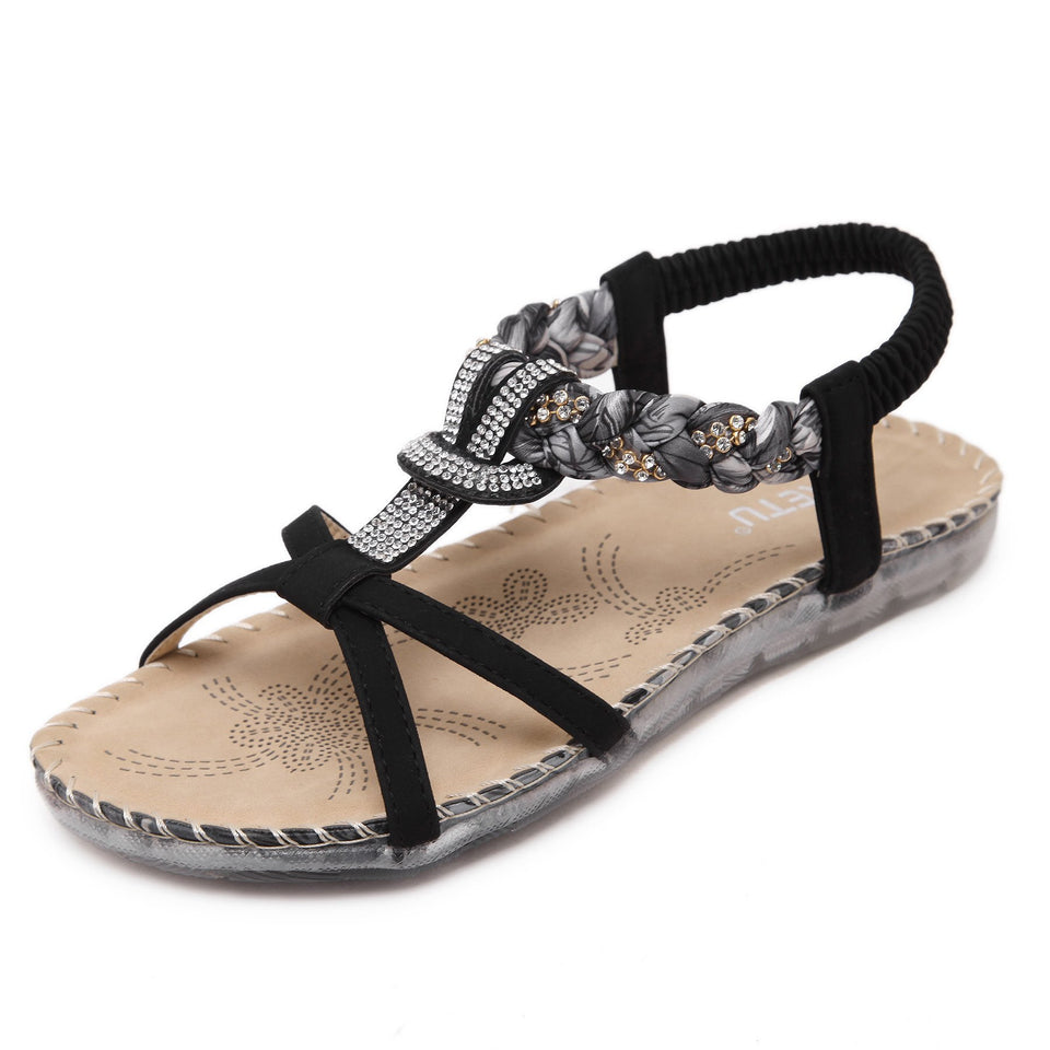 Crystal Studded Crossed & Braided Strap Fashionable Sandals in Two Colors-Diivas