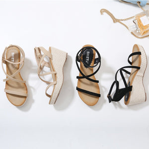 Elegant Crisscross Strap Wedge with Soft Padded Insole Fashion Sandals-Diivas