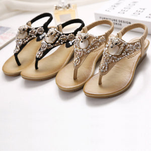 Low Wedge Racoon Gem and Rhinestones Sandals in Two Colors-Diivas