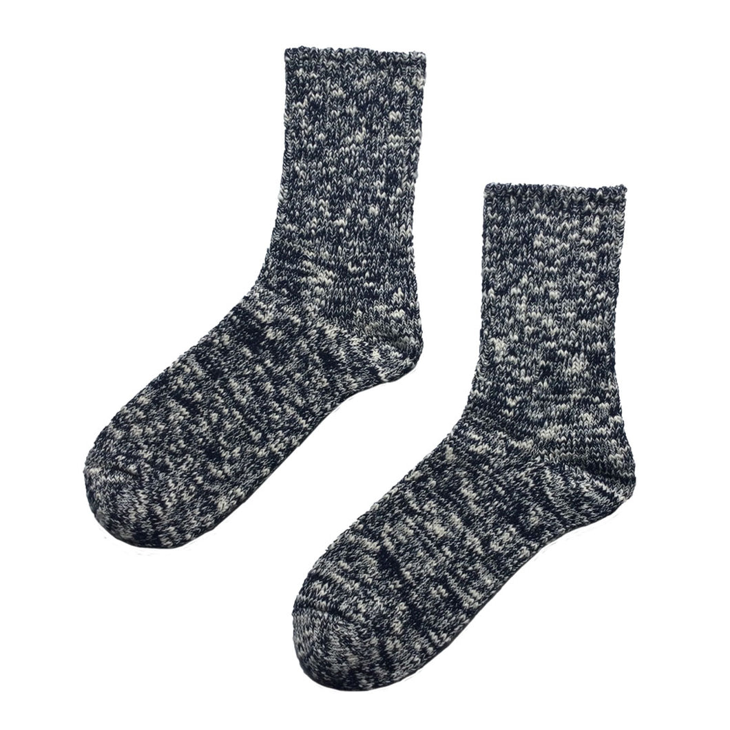 Slub Nep Mottled Socks Navy