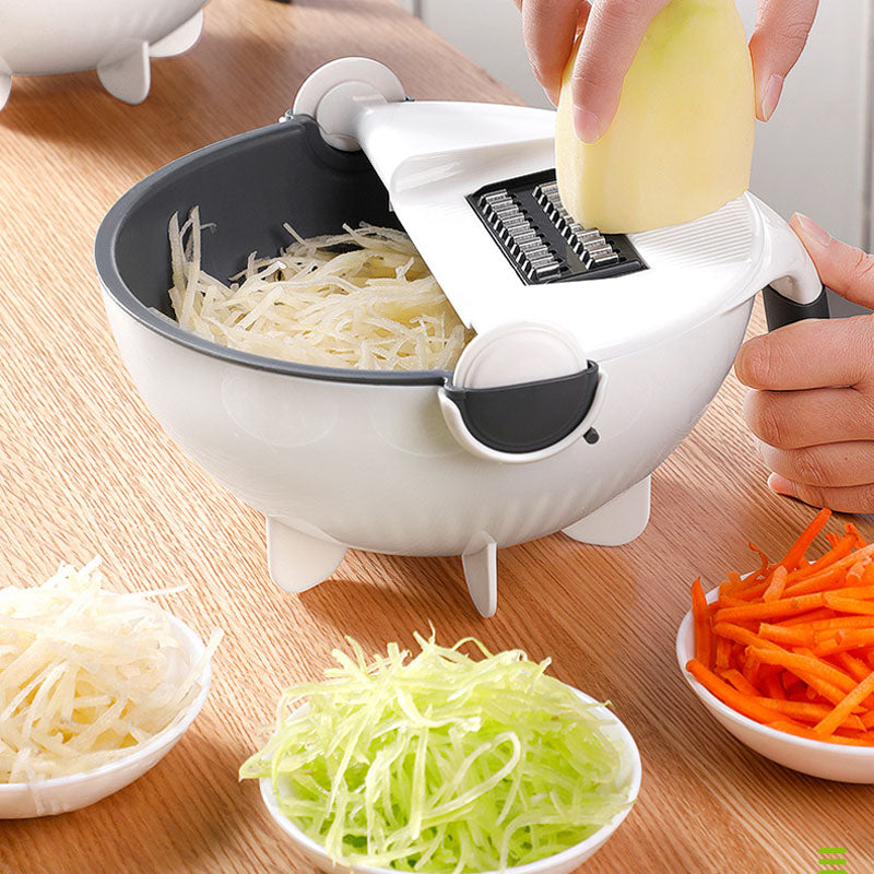9-in-1 Vegetable Cutter With Drain Basket & 8 Dicing Blades