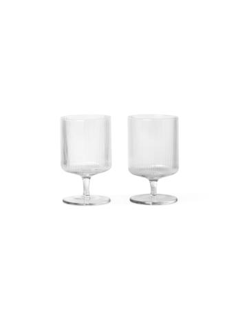 Ferm Living Ripple vinglass - 2 stk - Clear