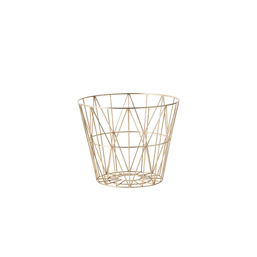 ferm LIVING Wire Basket - Messing - Small-Designfund.no