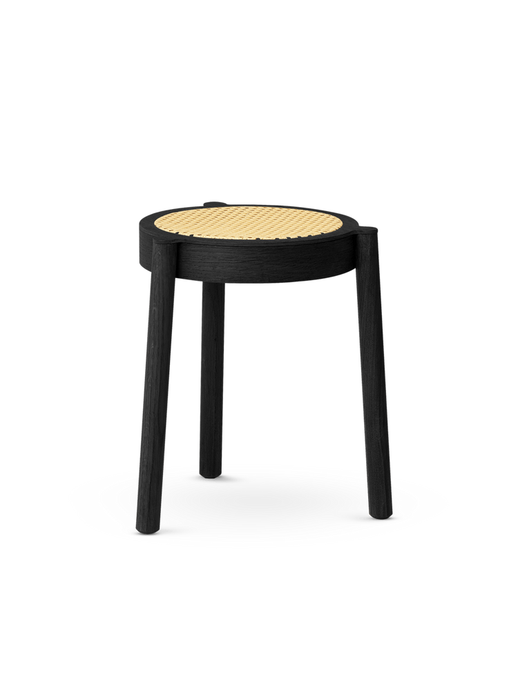 northern pal krakk black painted oak cane mesh seat