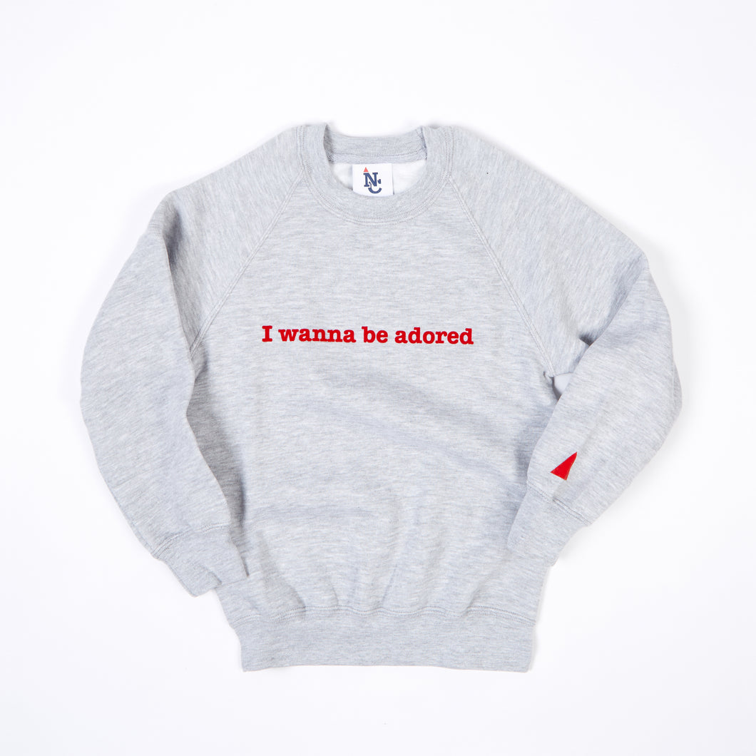 JUNIOR ADORED MARL / RED FLOCK PRINT SWEAT