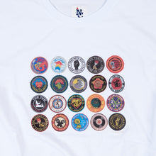 Load image into Gallery viewer, BADGES - DTG WHITE ORGANIC TEE