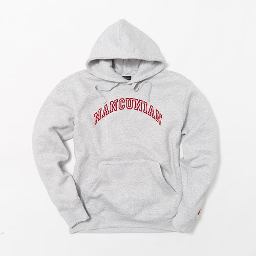 MANCUNIAN MARL GREY FLOCK HOOD SWEAT